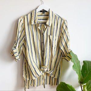 Ellen Tracy Linen Shirt Tab Sleeve Top Blouse L